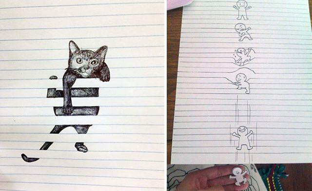 Entre linhas: 7 Desenhos superlegais que interagem com as linhas do caderno…