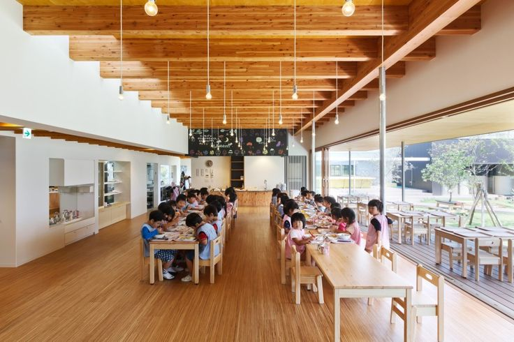A. this is a lovely room with beautiful light, proportions and materials. And B. How cute are those little smocks? D.S+Nursery++/+HIBINOSEKKEI+++Youji+no+Shiro