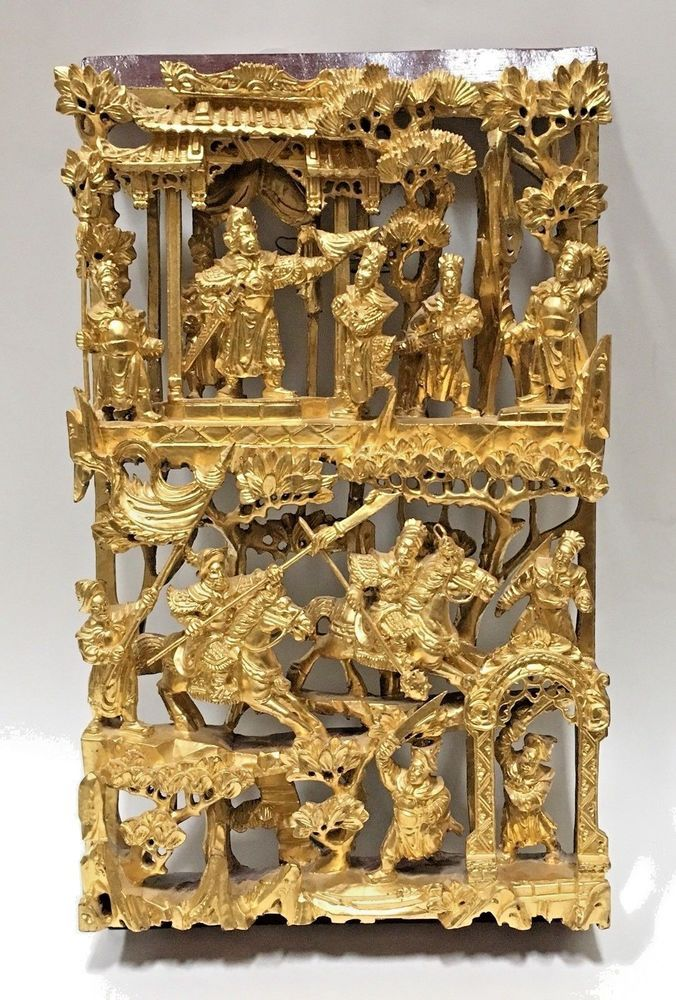 Antique Chinese Wood Carved Panel 19th Century Gold Gilded