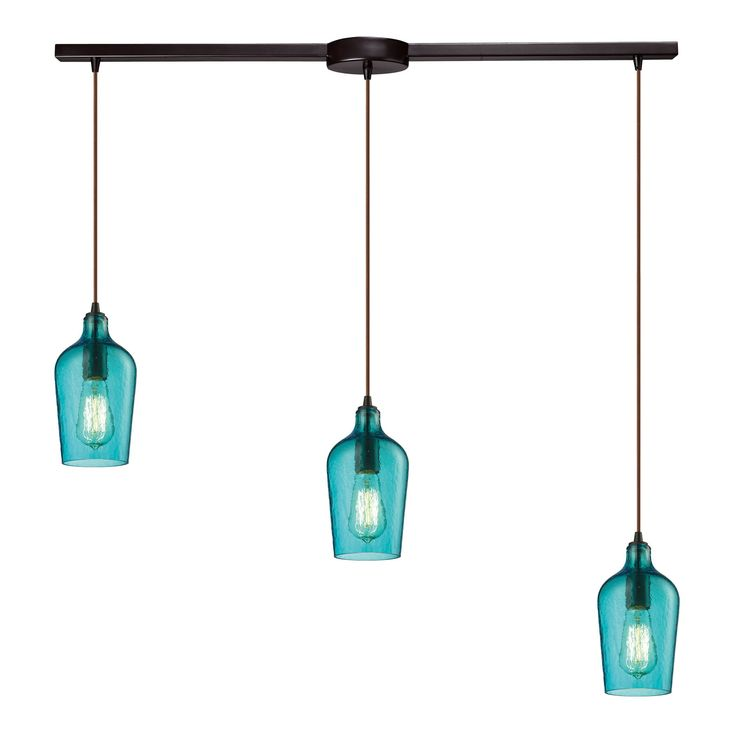 Hammered Glass 3 Light Pendant In Oil Rubbed Bronze And Aqua Glass