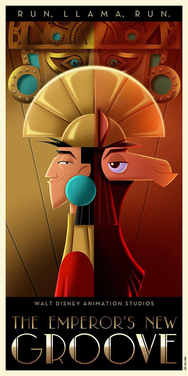 The Emperor S New Groove Art Deco Poster By Davidgferrero With