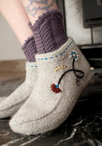 felted booties: Crafts Knits, Knits Accessories, Crochet Felt, Cute Ideas, Knits Slippers, Christmas Knits, Crochet Frenzi, Knits Bootie, St. Deni Yarns