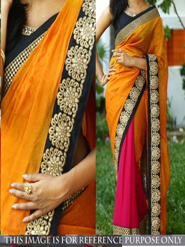 unbelievable Orange Georgette Designer Saree comes with black Color Banglori Silk Blouse. It contained the Embroidery work with lace border. The Blouse can be customized up to bust size 44