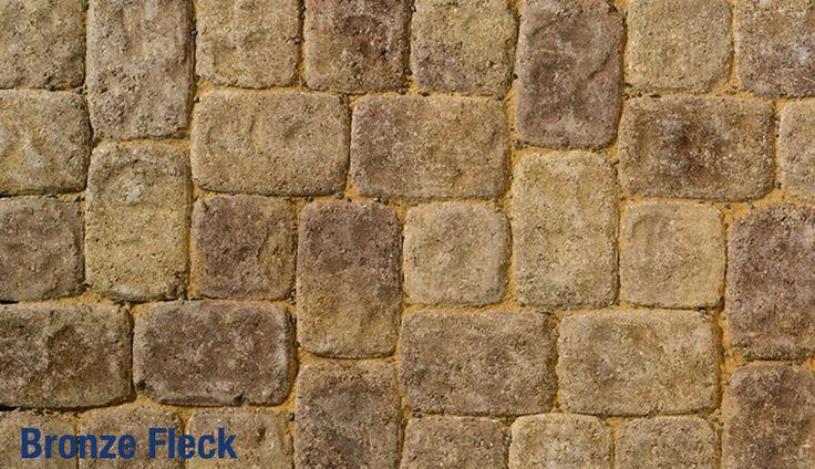 Brett Aura Square Stone cobble paving blocks in rich Bronze fleck colour for rustic paths and driveways
