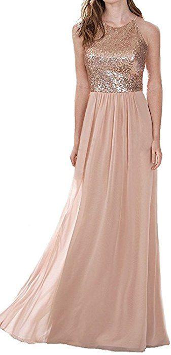 0fad9ab9a8e Amazon.com  Homdor Women Sequins Halter Neckline Chiffon Bridesmaid Dress  Long Evening Gowns