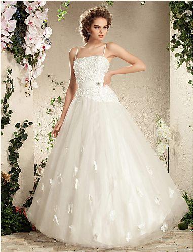Charming Ball Gown Spaghetti Straps Floor-length Tulle Wedding Dress Easebuy! Free Measurement!