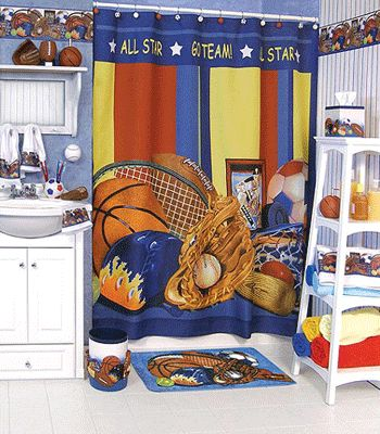 curtain ideas for children | Sport theme bathroom design ideas, kids shower curtains, boys bathroom