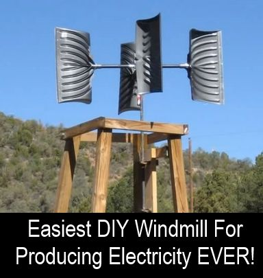 That's right folks - those are snow shovels! The whole thing cost less that $200 to build... Check out the video below to find out how to build this super simple windmill, that when connected to some kind of appropriate alternator, can generate 300 watts...