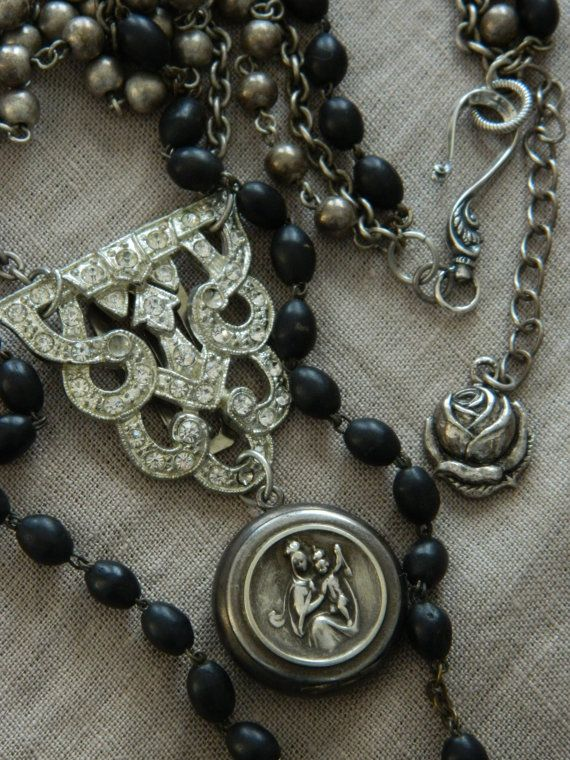 Rosary Locket Assemblage Necklace Triple Strand by 58Diamond
