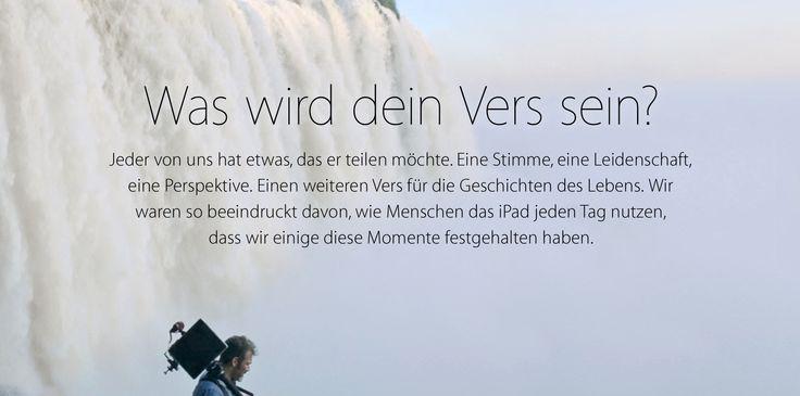 """iPad Air Sonderseite & TV Werbung """"Dein Vers"""" endlich in deutscher Sprache! - http://apfeleimer.de/2014/02/ipad-air-sonderseite-tv-werbung-dein-vers-endlich-in-deutscher-sprache - Die iPad Air Werbung """"Your Verse"""" hat uns beeindruckt. Jetzt strahlt Apple auch im deutschen Fernsehen die iPad Air Werbung """"Your Verse"""" bzw. """"Dein Vers"""" mit dem Zitat aus dem """"Club der toten Dichter"""" aus, schaltet zeitgleich die Apple Sonderseite..."""