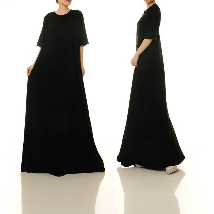 Black Oversize Dress | Black Kaftan Dress Plus Size Kaftan | Long Black Dress | Black Maxi Dress Casual Black Dress | Loose Dress 1X 2X 6484 by Tailored2Modesty on Etsy