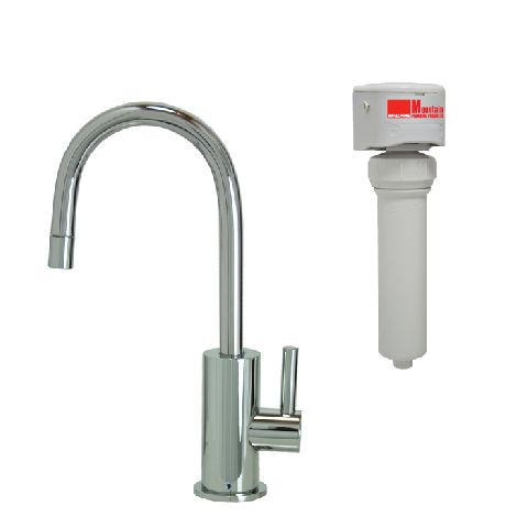Contemporary Mini Point-of-Use Drinking Faucet & Mountain Pure® Water Filtration System (w/ Round Base & Handle)