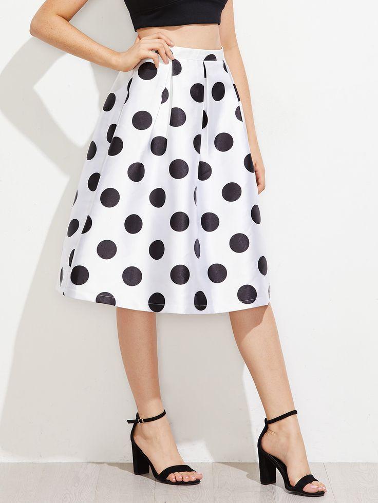 Polka Dot Box Pleated Volume Skirt -SheIn(Sheinside)