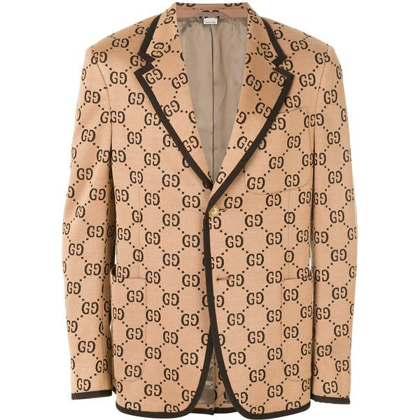 Gucci Gg Supreme Blazer (44,550 MXN) ❤ liked on Polyvore featuring men's fashion, men's clothing, men's sportcoats, aztec print mens clothing, men's sportcoats and blazers and gucci mens clothing