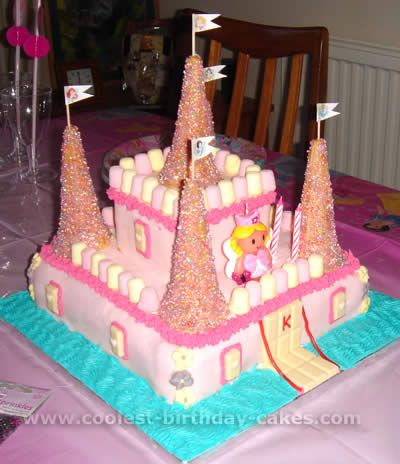 Castle Cake: chocolate bar for drawbridge and windows plus licorice for the rope