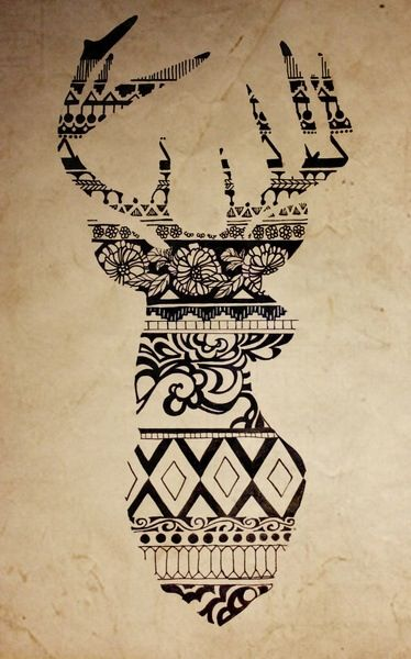 Tribal deer drawing, cool pic probably would be a cool tattoo.