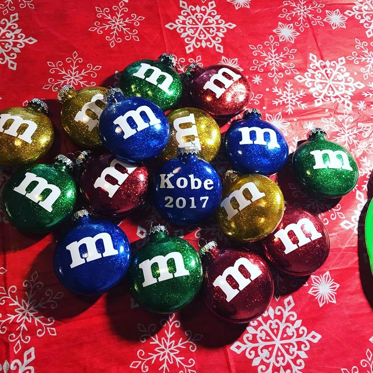 DIY m&m Christmas ornaments using generic mop n glow ...