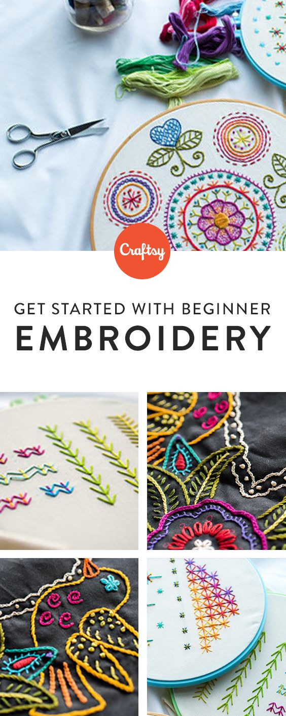 Just getting started with embroidery? Craftsy's comprehensive beginner�s class will walk you through the basics from choosing fabrics and floss to hooping up and crafting 19 beautiful stitches. Learn to create a gorgeous sampler as you master a range of key techniques, including how to work with letters, numbers and finished garments, finish flat embroidery and more.