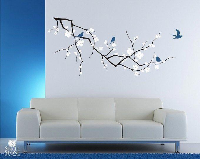 Homewalldecorideas Wall Decals Cherry Blossom Branch Decal Wall Art Tree Wall Decal