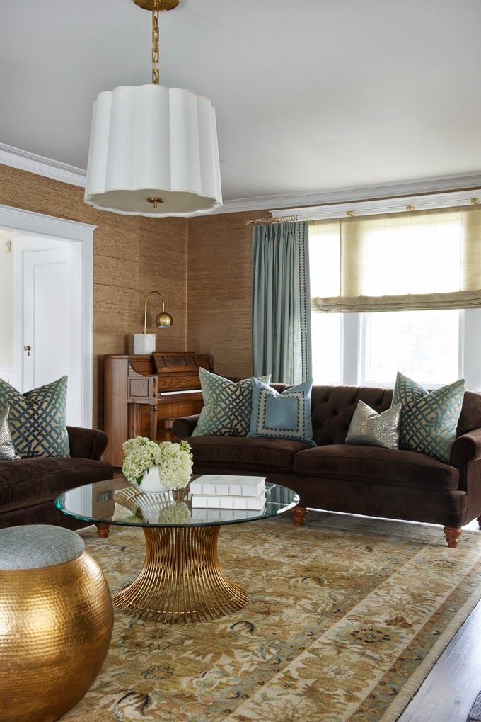 Living Room | Diana Weinstein Design. Brown CouchBrown SofasTurquoise ...