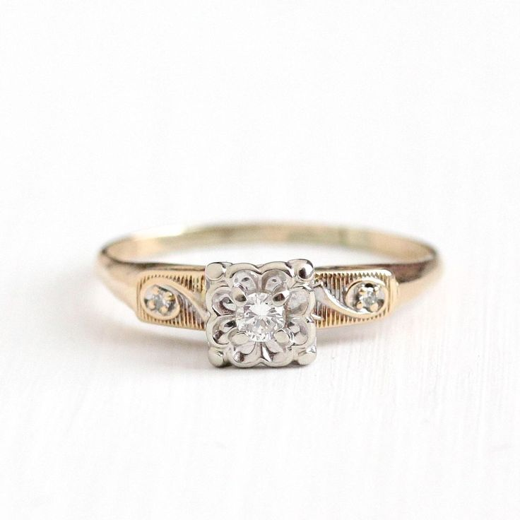 Vintage 14K Rosy Yellow & White Gold 1/10 CTW Diamond Ring - Size 9 Two Tone Diamond Shoulders 1950s Engagement Wedding Fine Bridal Jewelry by MaejeanVintage on Etsy https://www.etsy.com/listing/518634943/vintage-14k-rosy-yellow-white-gold-110