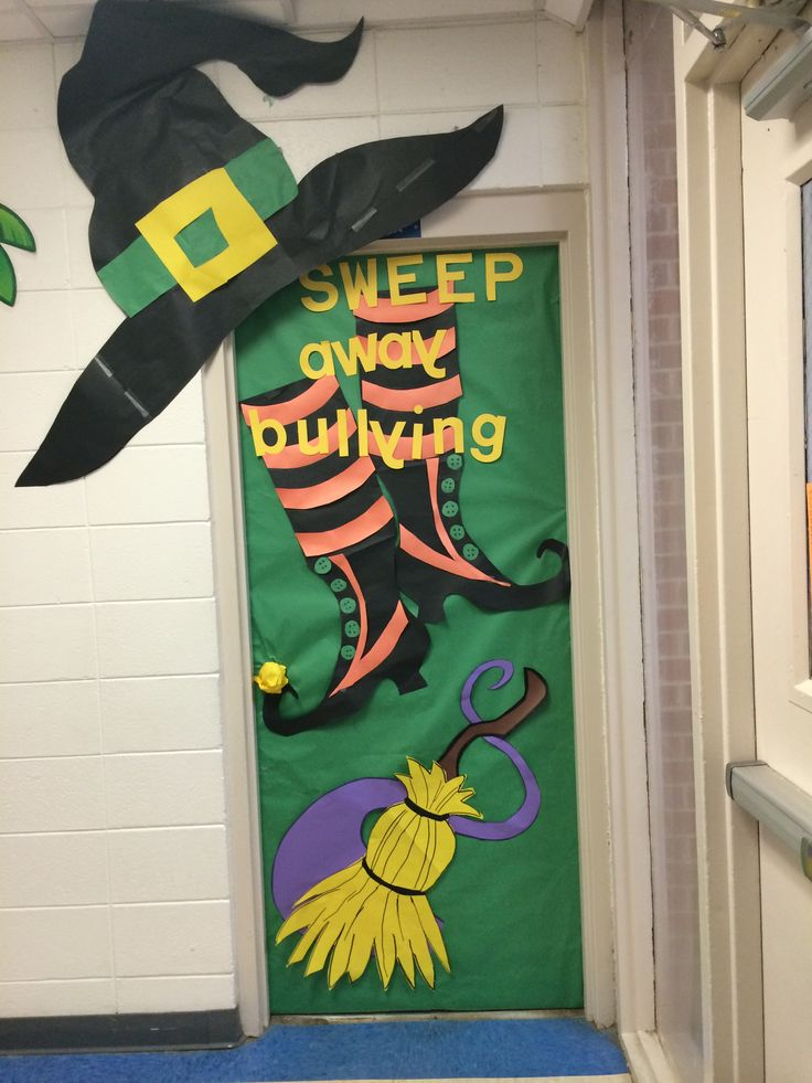 door decoration halloween anti bully things for school witch door decoration ideas - Halloween Doors