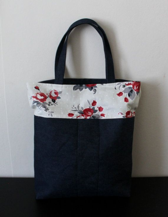 Tote bag denim canvas tote bag shopper bag large blue by Jamberoon
