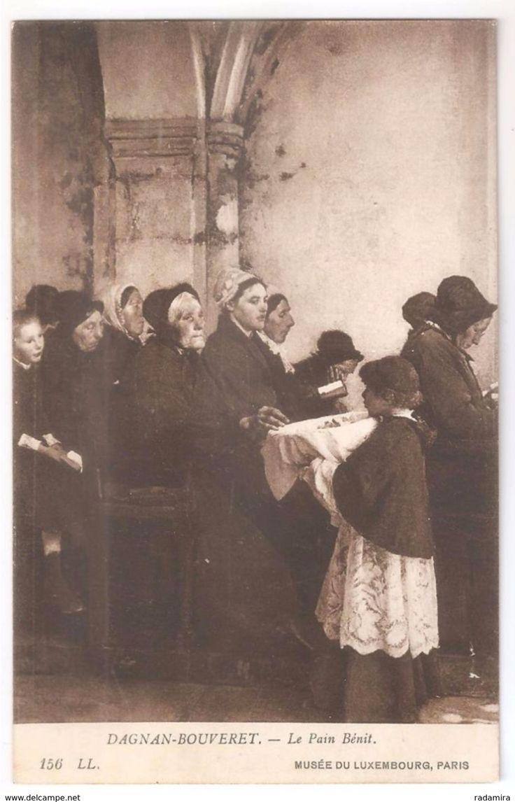 """Carte Postale Ancienne """"Le Pain Bénit"""" A. Dagnan–Bouveret - Musée du Luxembourg - France."""