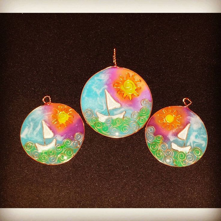 """Naive art jewelry set. """"Painting"""" in copper wire and epoxy resin. 100% handmade"""