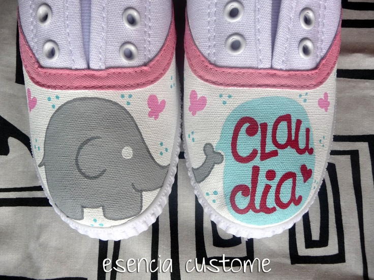 Cute elephants ♥ - Hand painted shoes by esencia custome