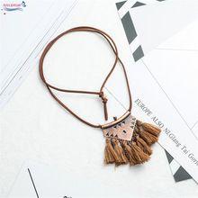 Collar de la borla de Bohemia borla larga collares mujeres Aleación boho colar cadena suéter collares joyería Étnica hecha a mano de cuero(China)