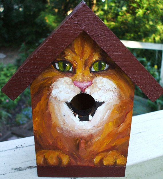 I love this idea!   BIRD HOUSE  Wood Hand Painted for the Cat Lover by GiftsbySuzanne, $37.00