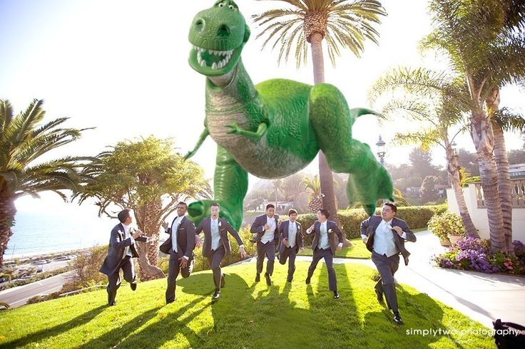 (My guy wants one of these pictures... so I think it should be with his guys....) dinosaur wedding photo | Bel-Air Bay Club , Bel-Air Bay Club Weddings , Dinosaur at wedding ...