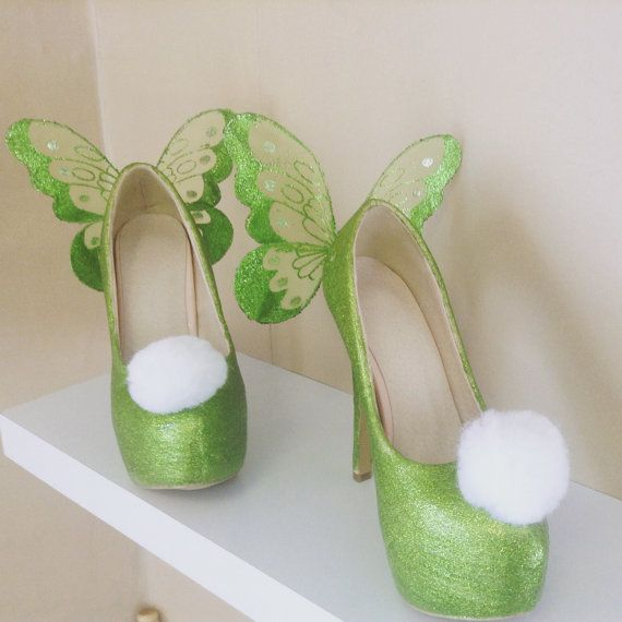 High Heeled Tinkerbell shoes ~ green sparkly fairy wing heels ~ princess cosplay comic con fancy dress ~ glitter pixie costume ~ hen party