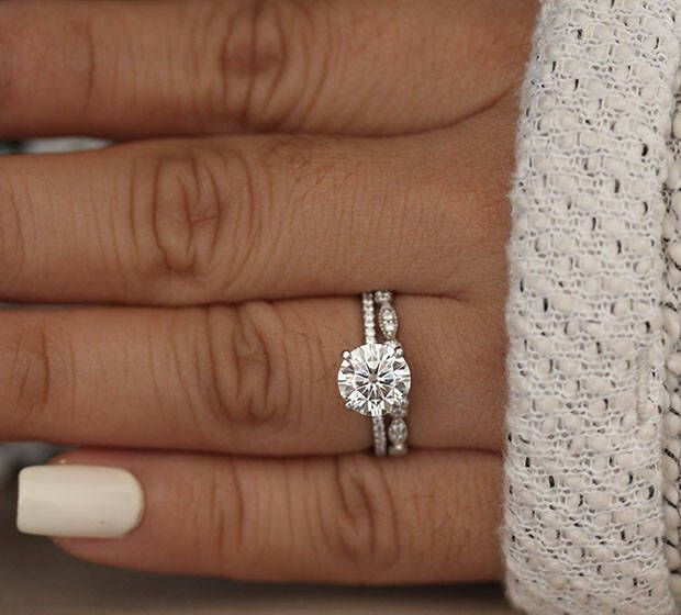 White Gold Engagement Ring, Moissanite Round 8mm and Diamond Bridal Ring Set, Forever Classic 1.90cts Moissanite Engagement Ring