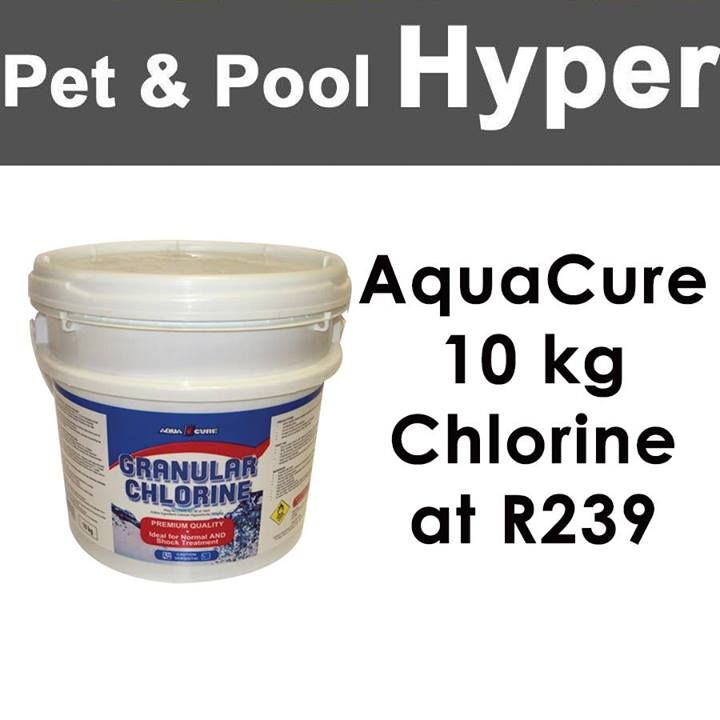 Great specials from Pet & Pool Hyper Boksburg: AquaCure 10 kg Chlorine at R239! Don't miss out and head down now! #specials