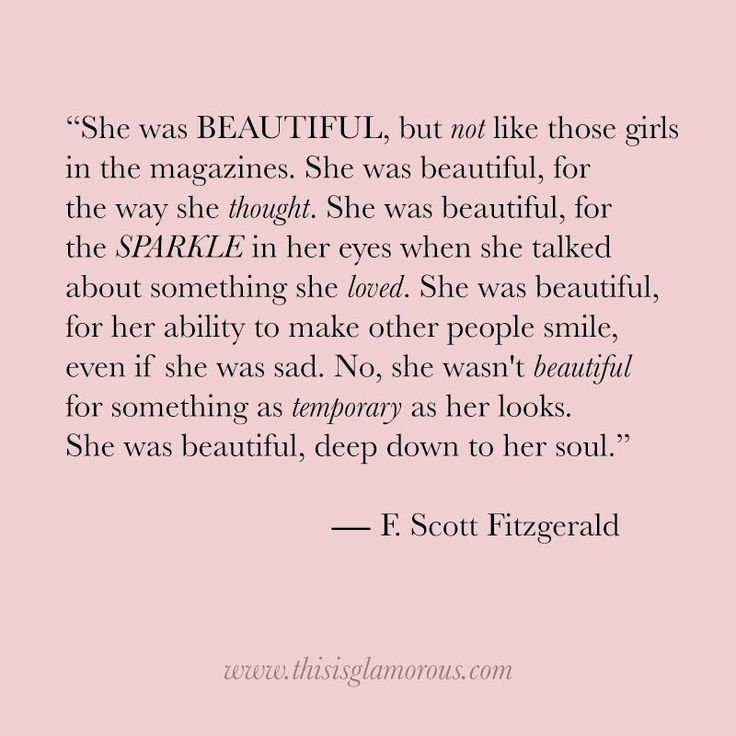Thought of the Day: On Beauty by F. Scott Fitzgerald - She was beautiful, but not like those girls in magazines. She was beautiful ...