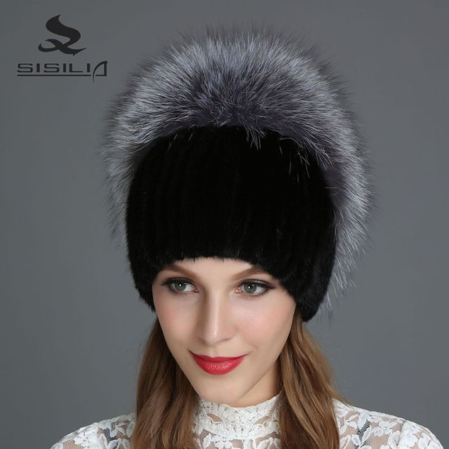Cut Price $42.50, Buy SISILIA 2017 New Women's Hats With Raccon&Fox Fur Hat Pom Poms Winter Hats Multiple Colour Knitted Cotton Beanies Female Cap