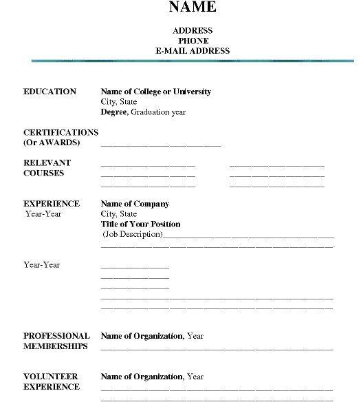 Printable Job Resume Form - http://getresumetemplate.info/3332/printable-job-resume-form/