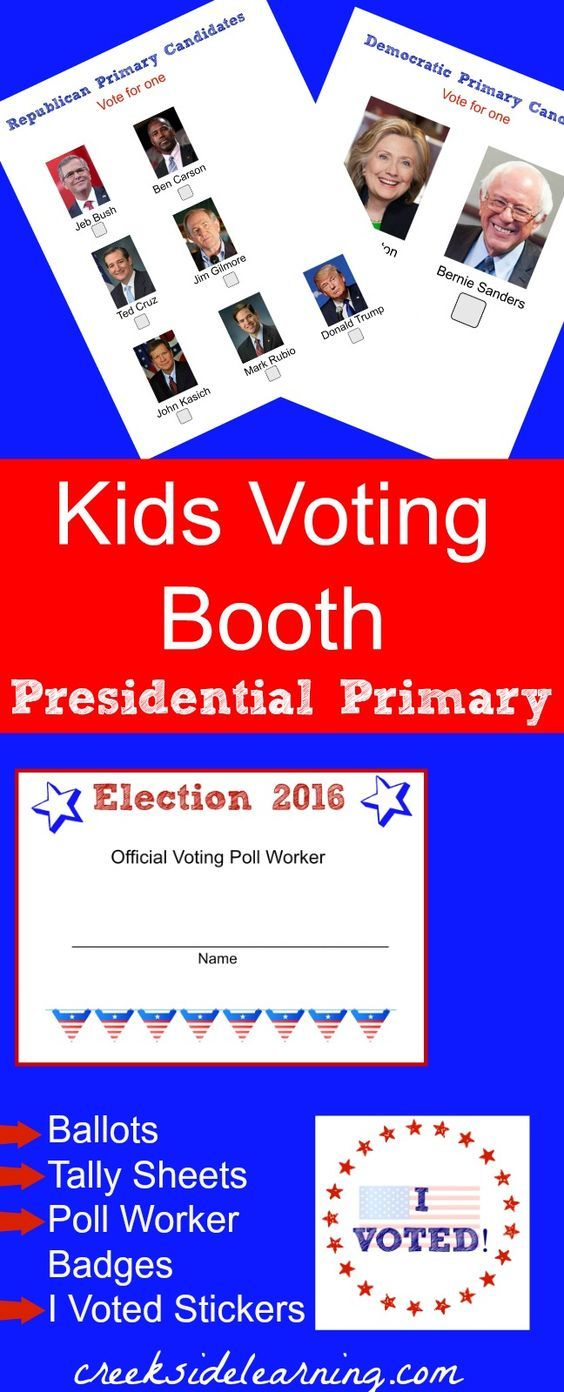 Set up a Presidential Primary 2016 voting booth for kids. Election for kids. Download free ballots, tally sheets, poll worker name badges and I Voted stickers.
