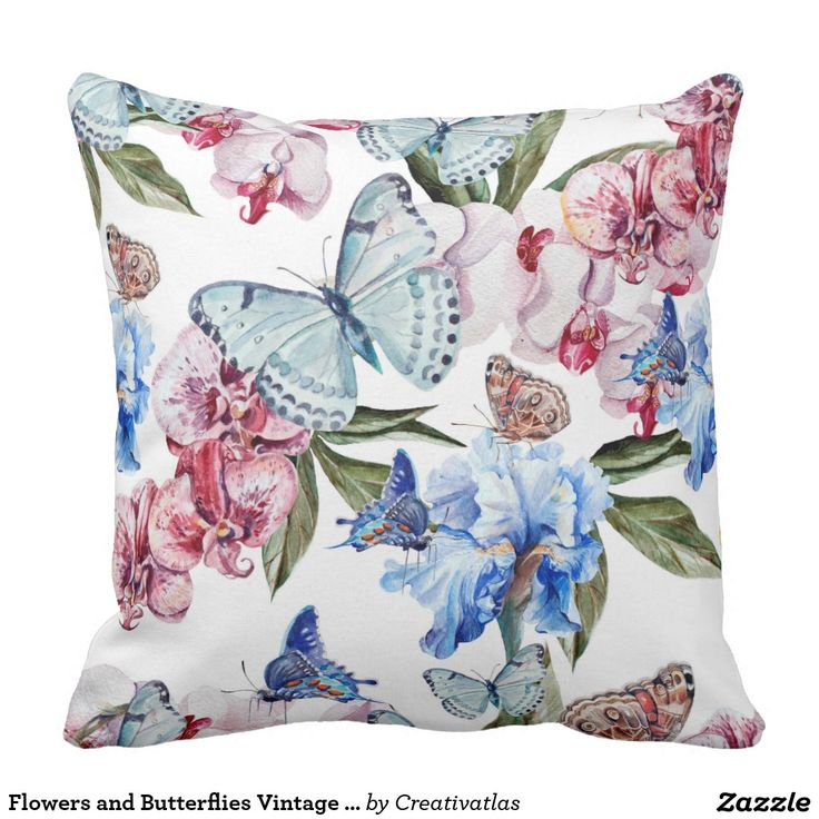 Pillows | Home Decor | Flowers and Butterflies Vintage Floral Throw Pillow