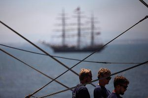 Tall ship in distance