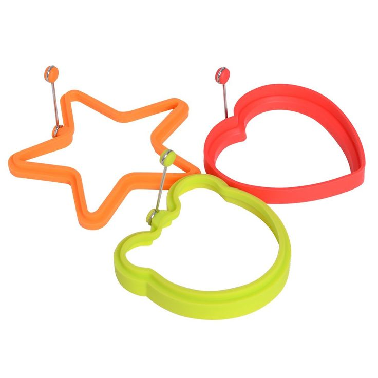Cute Nonstick Silicone Egg Ring Pancake Mold,Silicone Egg Poacher Cookware Cups in Vivid Colors (3 Pack of different shape ) * For more information, visit now : Specialty Cookware