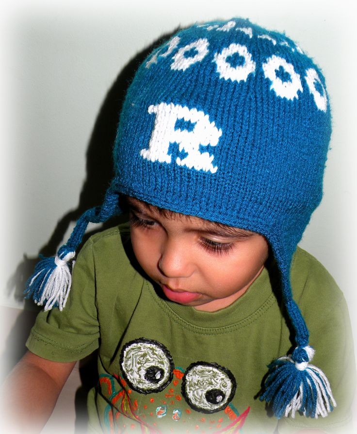 A knitted earflap hat