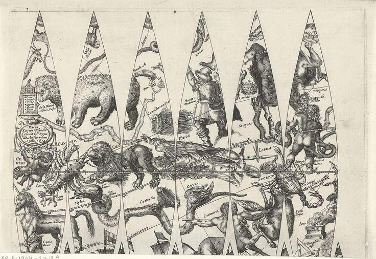 Pieter van der Keere   Kaart van een gedeelte van de dierenriem, Pieter van der Keere, 1614   Kaart van een gedeelte van de dierenriem met links een cartouche waarin het adres van de uitgever en daarboven een lijst met de namen van verschillende soorten sterren. De sterrenbeelden zijn met hun Latijnse naam aangeduid: rechts de schorpioen, in het midden de maagd, rechtsonder de centaur en links de leeuw, de kreeft en de tweeling. Onderaan is een afgesneden gedeelte van een andere kaart…