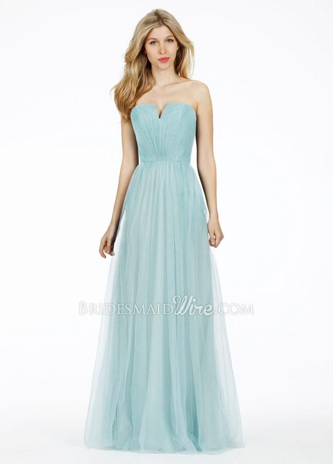 strapless blue ruched notched v-neck long bridesmaid dress