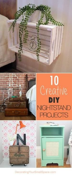 Nightstand ideas diy nightstand and diy and crafts on for Homemade nightstand ideas