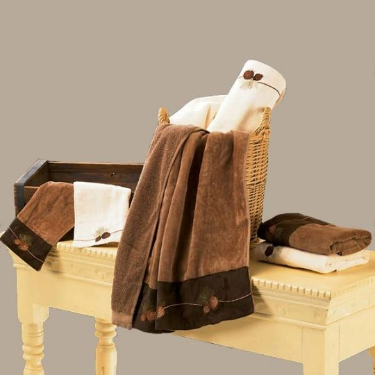 Embroidered Pine Cone Bath Towel Set
