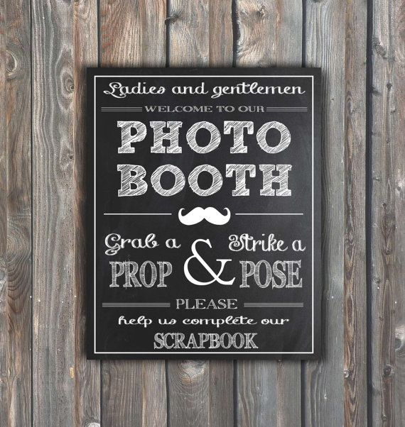 Wedding Photo Booth Sign–Guestbook Sign – Printable Photo Booth Sign–8x10 Chalkboard Sign–Scrapbook Photo Booth Sign–Instant Download