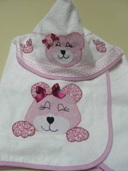 toalha infantil com urso rosa 100% algodão R$ 52,00
